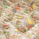 Vintage 1950s Kitsch Sailing Ship Print Eiderdown - Pastel Colours