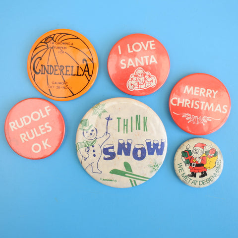 Vintage 1990s Christmas Badges - Choose From a Selection