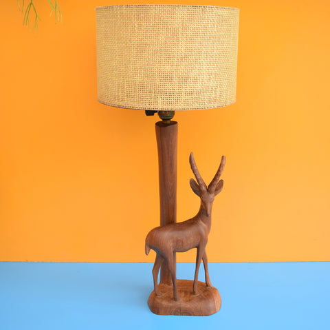 Vintage 1950s Antelope / Gazelle Lamp - Teak Wood & Hessian Shade
