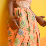 Vintage 1950s Lovely Painted Canvas Dolly - Peach Flower Skirt, Hinged Arms & Legs