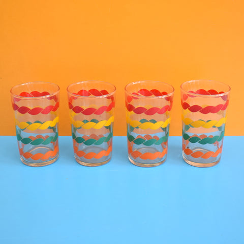 Vintage 1960s French Rainbow Rope Tot Glass Set x4