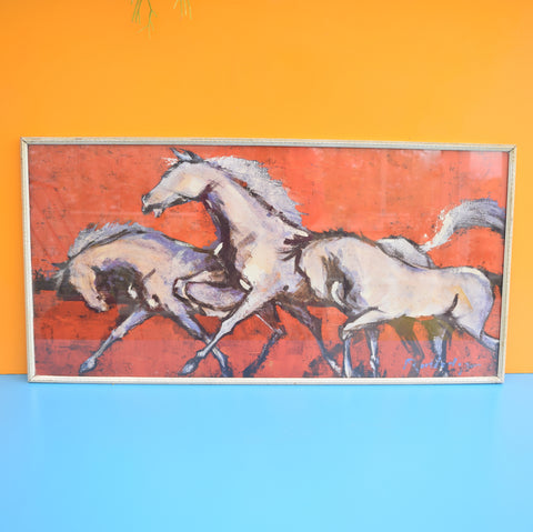 Vintage 1960s Horse Print Picture - Red & Purple