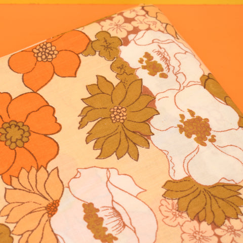 Vintage 1960s Double Sheet - Bold Flower Power - Orange & Brown
