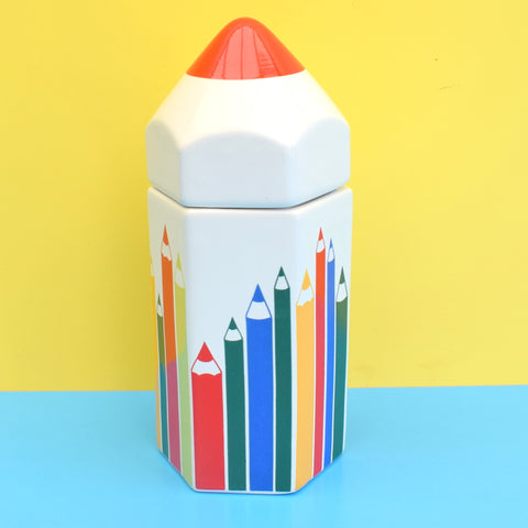 Vintage 1980s Ceramic Pencil Pot - Rainbow