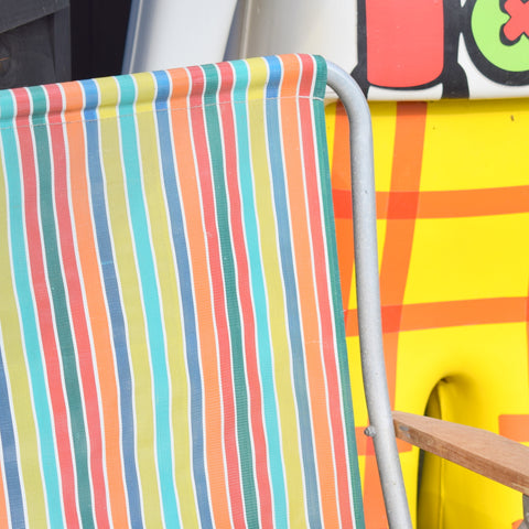 Vintage 1960s Folding Garden Chair - Striped - Rainbow