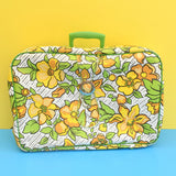Vintage 1960s Suitcases - Yellow & Green Flowers With Monochrome Background