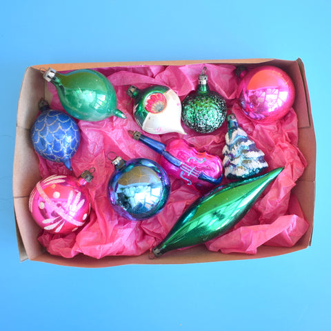 Vintage 1950s Mixed Special Glass Christmas Baubles - Boxed .