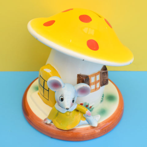 Vintage 1960s Gorgeous Ceramic Mouse / Toadstool Money Box - Yellow