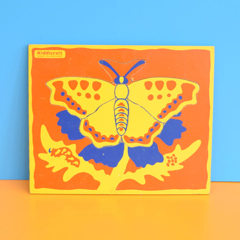 Vintage 1970s Wooden Jigsaw Puzzle - by Galt - Butterfly - Orange, Yellow & Blue