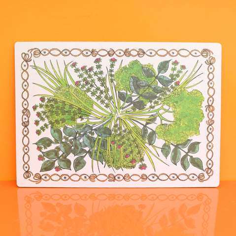 Vintage 1960s Taunton Vale Large Chopping Board - Herb Design, Green