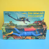 Vintage 1970s PlayArt Plastic Swimming Frogman - Battery Operated - Boxed