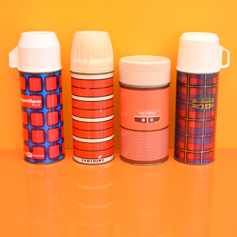 Vintage Thermos Flask Selection - Red, Orange, Blue