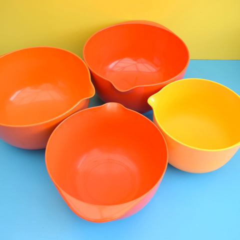 Vintage 1970s Rosti Melamine Plastic Mixing Bowls - Red, Orange & Yellow