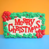 Vintage 1970s Merry Christmas Plastic Sign