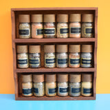Vintage 1960s Teak Spice Rack With Glass Jars (And Contents)