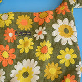 Vintage 1960s Fabric Bag Orange Flower Power / Velvet