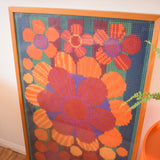 Vintage 1960s Fantastic Large Swedish Embroidery Picture - Flower Power