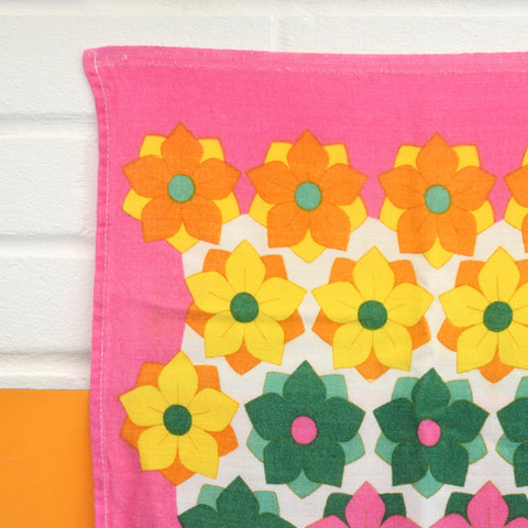 Vintage 1960s Cotton Tea Towel - Flower Power - Pink - Christy