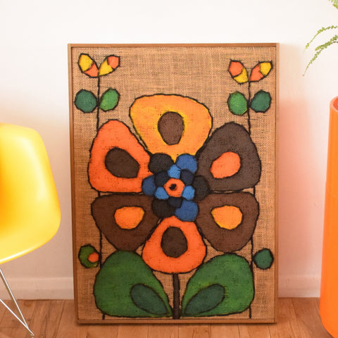 Vintage 1960s Large Swedish Hessian Collage Picture / Painting - Lennart Olsson - Flower Power