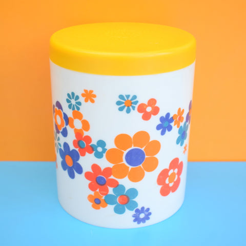 Vintage 1970s Flower Power Plastic Canister - Orange, Yellow & Blue