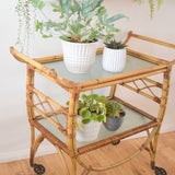 Vintage 1950s Bamboo Trolley - Drinks Bar / Side Unit / Plant Stand - Natural