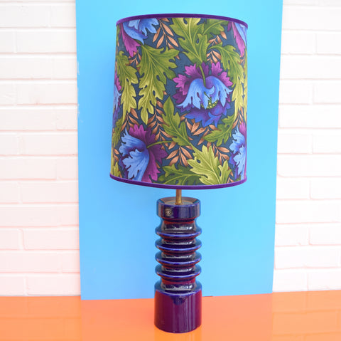 Vintage 1960s Royal Doulton Table Lamp - Original Shade, Blue