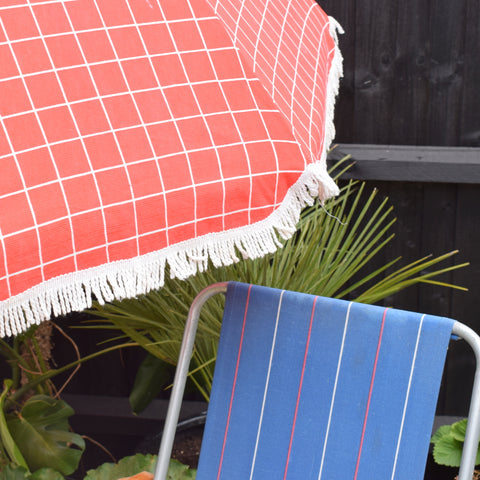 Vintage 1980s Garden Parasol & Folding Chair - Stripes / Checked - Red, White & Blue
