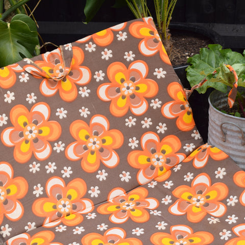 Vintage 1960s Padded Long Folding Cushion - Orange Flower Power