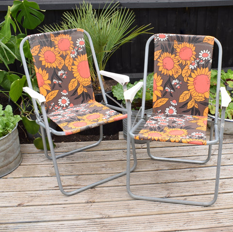 Vintage 1970s Garden Folding Chair - Orange & Brown Sun Flower Power