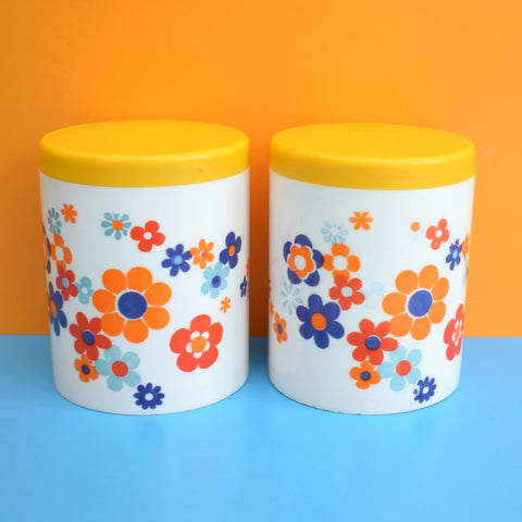 Vintage 1970s Flower Power Plastic Canister - Orange, Yellow & Blue - A/F