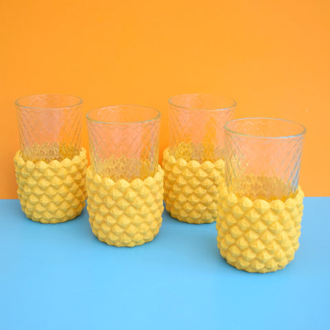 Vintage 1970s Pineapple Ice Bucket Glasses - Plastic - Yellow