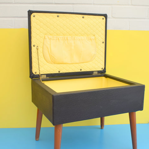 Vintage 1960s Square Sewing / Hobby Box - Vinyl - Black & Yellow