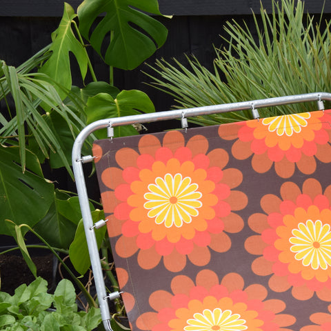 Vintage 1970s Garden Sun Lounger - Orange Flower Power- Gorgeous
