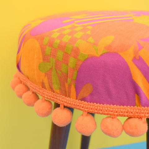 Vintage 1960s Upholstered Stool - Orange & Pink Apple Print With Bobble Trim