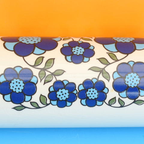 Vintage 1970s Flower Power Rolling Pin - Taunton Vale - Blue