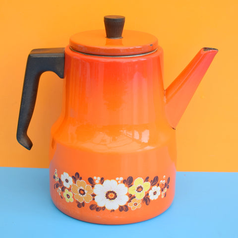 Vintage 1960s Enamel Coffee Pot - Orange Flowers