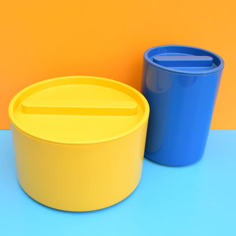 Vintage 1970s Plastic M&S Containers - Yellow & Blue