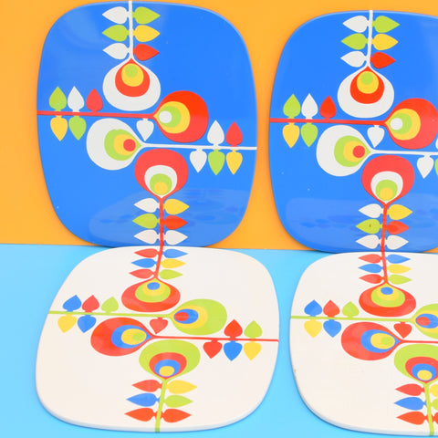Vintage 1970s Boxed Metal Placemat Set of 6 - Blue , Yellow , Red