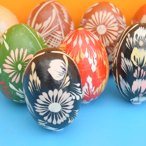 Vintage Wooden Hand Painted Eggs - Folk Art