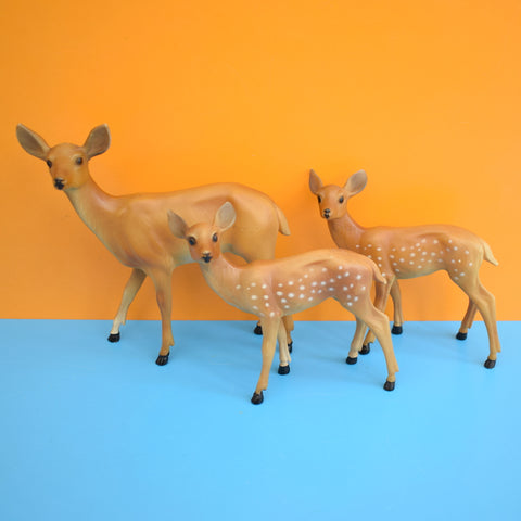 Vintage 1970s Kitsch Plastic Deer Family - Brown