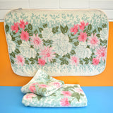 Vintage 1950s Cotton Towel Set - Pink Flowers