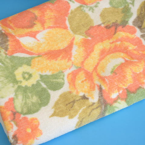 Vintage 1950s Cotton Bath Towel - Peach Flowers