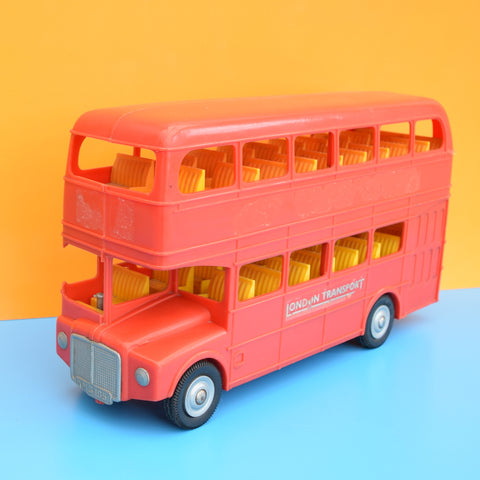 Vintage 1970s Plastic London Bus Toy - Red