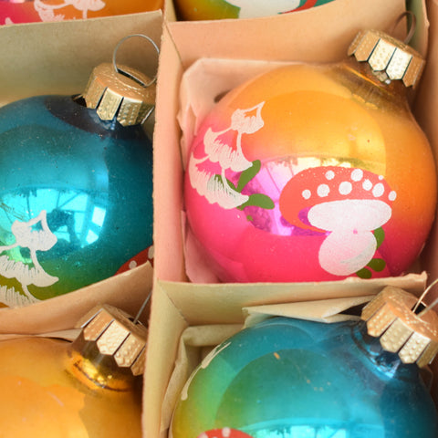 Vintage 1960s Glass German Christmas Baubles - Medium - Toadstools