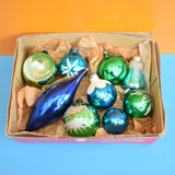 Vintage 1950s Glass Mixed Decorations - Blue / Green