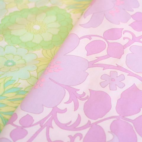 Vintage 1960s Duvet Cover / Sheet - Marks & Spencer Flower Power,  Purple or Green