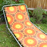 Vintage 1970s Garden Sun Lounger - Orange Flower Power
