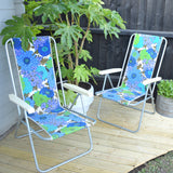 Vintage 1960s Boxed - Danish Folding Garden Pair of Chairs - Flower Power - Green & Blue / Parasol