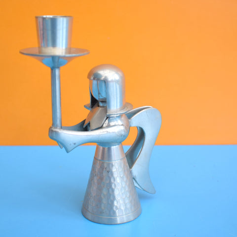 Vintage 1970s Pewter Angel Candle Holder - Danish