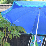 Vintage 1960s - Garden Parasol / Umbrella - Blue / Turquoise With Bobble Trim